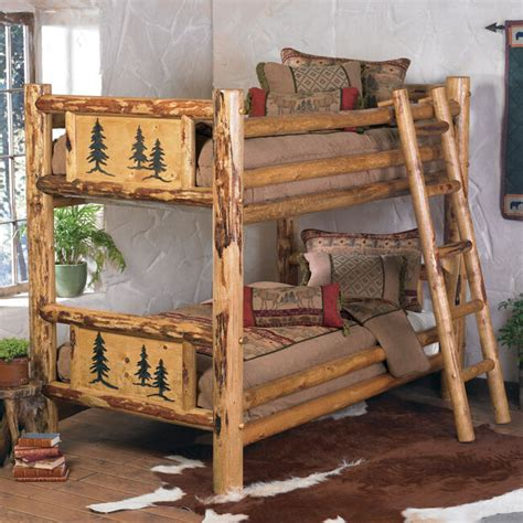 rustic bunkbed frame country western cabin log wood