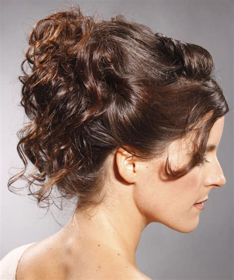 formal long curly updo hairstyle mocha brunette hair color
