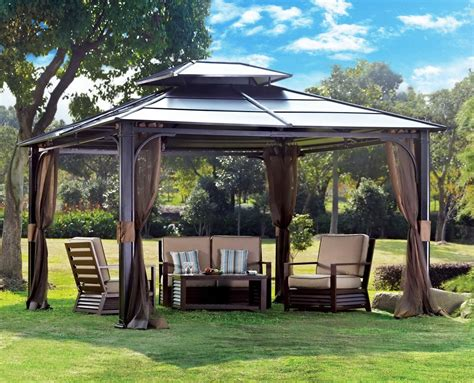 Outdoor Canopies And Gazebos 10 X 12 Chatham Steel Hardtop Gazebo Patio