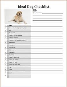ms word my ideal dog checklist template formal word