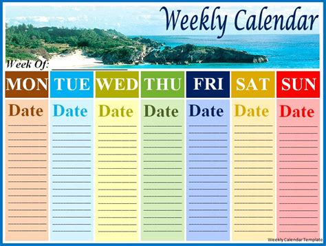 weekly event calendar template weekly calendar template best word templates
