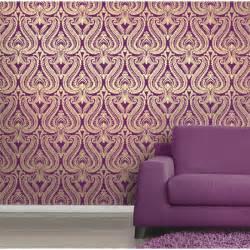 i love wallpaper shimmer damask metallic designer feature wallpaper plum gold ebay