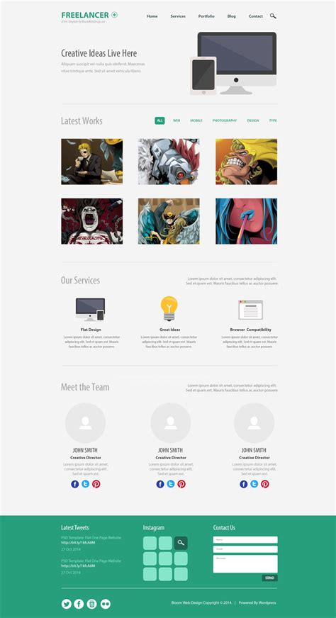 35 Free Single Page Website Template Psd Creativecrunk Single Page Website Template Free