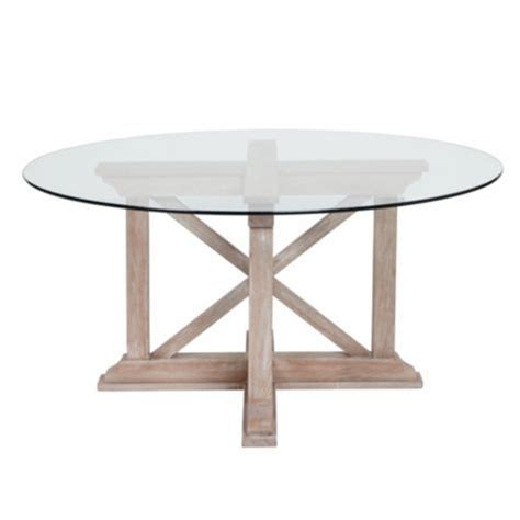 rencourt dining table white wash w glass top from
