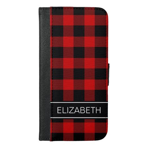 red black buffalo check plaid  monogram iphone