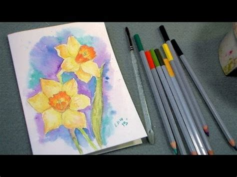tutorial on using watercolor pencils daffodil watercolor pencil tutorial thefrugalcrafter s