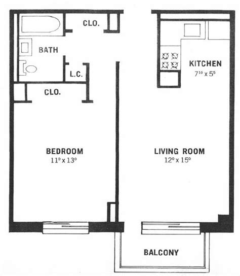 Floor Plans For One Bedroom Apartments by One Bedroom Apartment Floor Plan One Bedroom Apartment