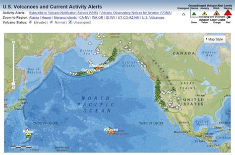 map of volcanoes in the united states interactive map of united states volcanoes and current