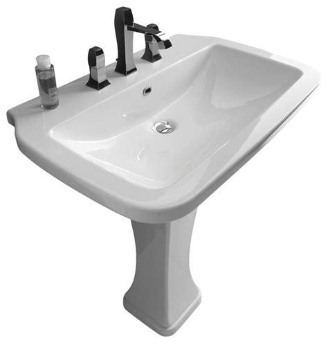 Nova pedestal sink in ceramic white 29 5 quot contemporary bathroom sinks by modo bath