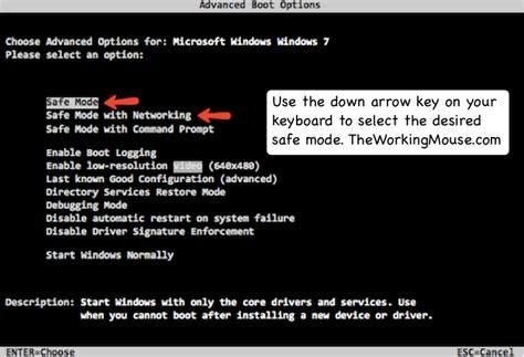 windows 7 safe mode dell inspiron