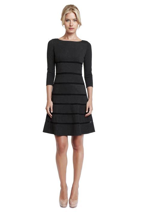 knit black dress erin fetherston mesh stripe knit dress in black charcoal