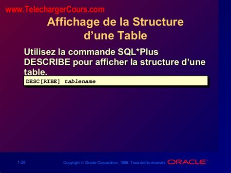 Describe Table Oracle by L Ordre Select 201 L 233 Mentaire Sql Oracle
