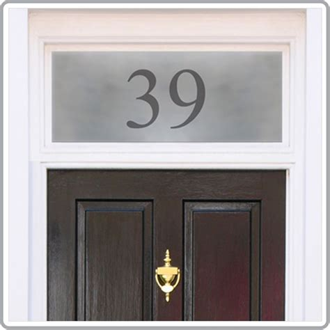 house number window film bespoke frosted house name and door numbers