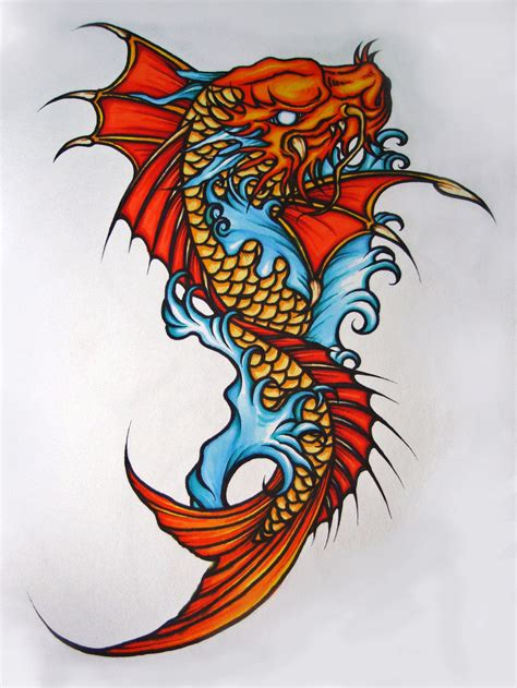 koi fish dragon tattoo koi dragonfish by elliesmeria on deviantart