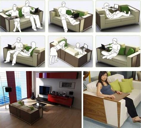 Desk Sofa Design flip open sofa shelves combined desk design