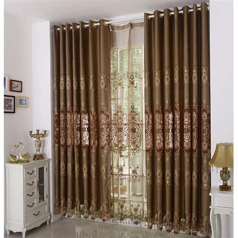 elegant curtain vintage brown color jacquard elegant curtains