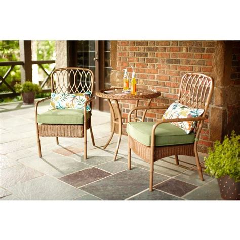 Patio Bistro Chair Cushions Hton Bay Clairborne 3 Patio Bistro Set With Moss Cushion D11079 3pc The Home Depot