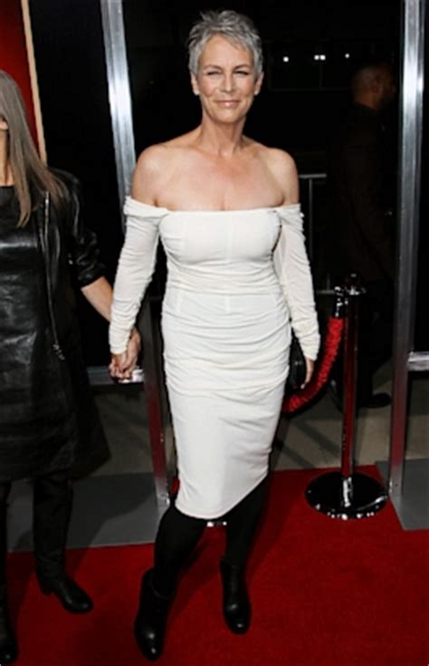 jamie lee curtis red suit fashion friday