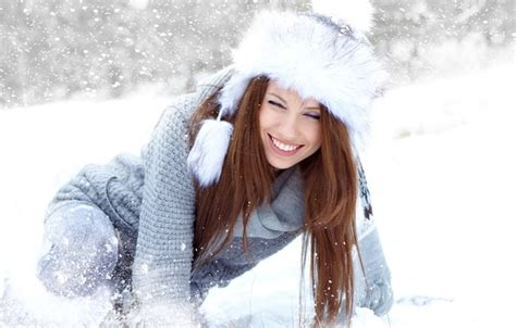 girl with brown hair in snow wallpaper long haired cap girl snow winter joy brown