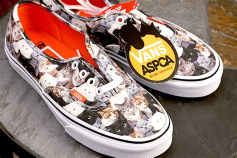 sneakers with cats on them time for a walk with stylish cats in the vans x aspca