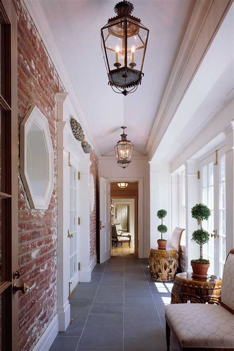 exposed brick wall lighting gorgeous exposed brick wall flagstone floor lantern