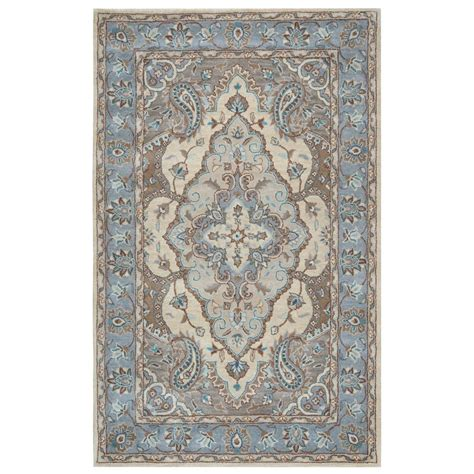 home depot wool area rugs rizzy home valintino blue border tufted wool 9 ft x 12 ft area rug vntvn972300520912