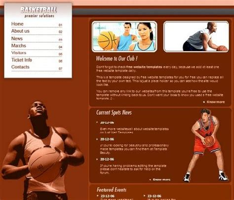 20 Free Html Css Sports Website Templates Utemplates Free Basketball Website Templates