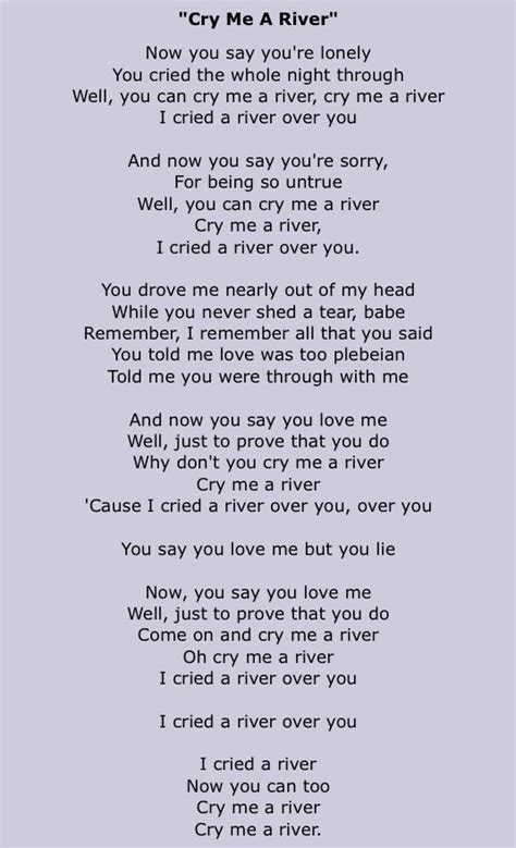 cry me a river quotes quotesgram