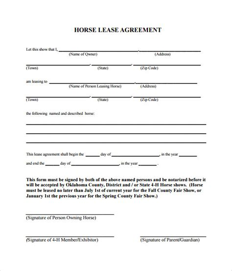 free printable horse lease agreement simple lease agreement free sle horse lease agreement
