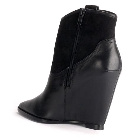 ash jude wedge boots black leather suede