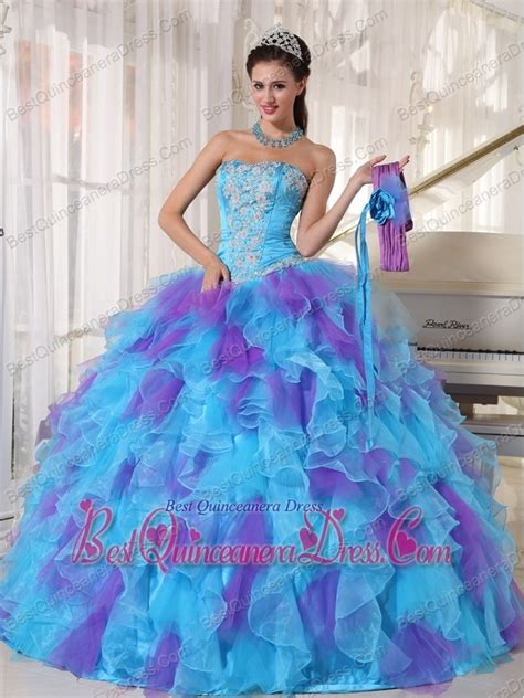 blue and purple quinceanera dresses baby blue and purple gown strapless floor length