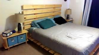 diy pallet bed with headboard pallet furniture diy