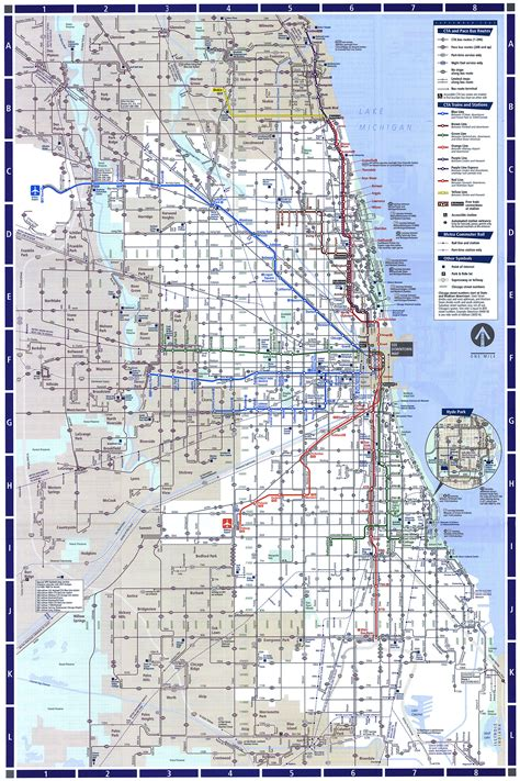 chicago map with transit chicago l org system maps route maps