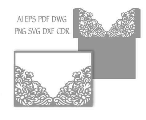 silhouette cameo card templates 5x7 wedding invitation pocket envelope svg template quinceanera invitation laser cutting file