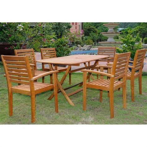 7 patio dining sets 7 wood patio dining set tt re 054 1b 043 6ch