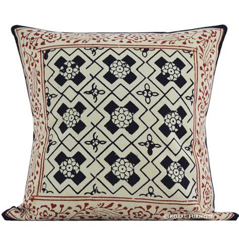 photo print pillow 16 quot black indian block print throw pillow cover
