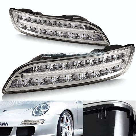 Stop L Porsche 997 05 09 Led Clear chrome housing white led drl bumper lights fit 05