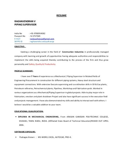 Piping Construction Supervisor Resume by Piping Supervisor Resume
