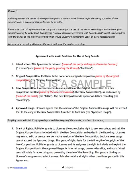 publishing agreement template publishing agreement template sle clearance contract