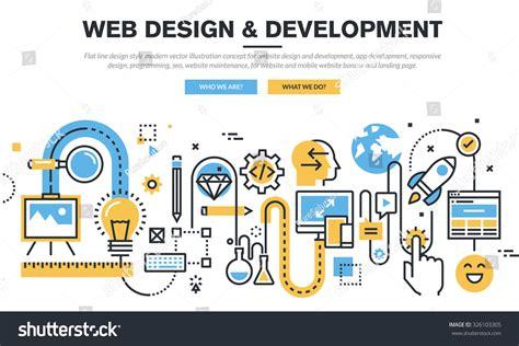web design and programming tutorial flat line design vector illustration concept stock vector