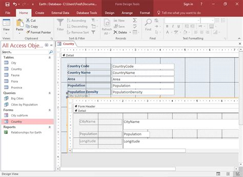 layout view access 2016 how to add a subform to a form in access 2016