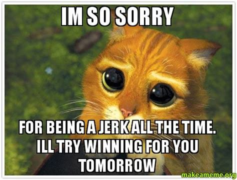 Memes About Being Sorry - im so sorry for being a jerk all the time ill try winning for you tomorrow make a meme