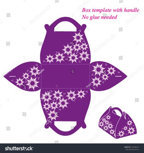Purple Box Template With Handle No Glue Needed Vector Illustration With Flowers 154280414 Flower Box Template
