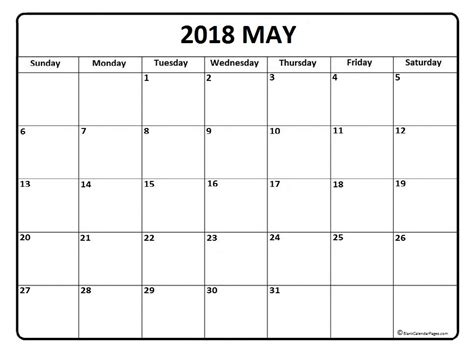 printable calendar for may 2018 may 2018 printable calendar printable calendar templates