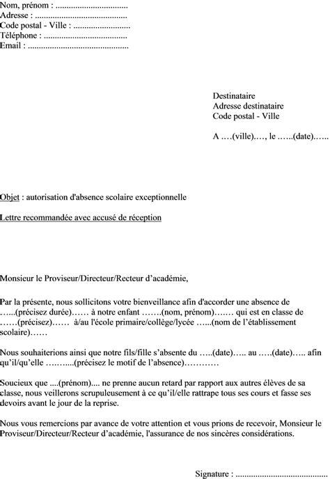Modele De Lettre Pour Absence Ecole mod 232 le lettre demande autorisation absence 233 l 232 ve au