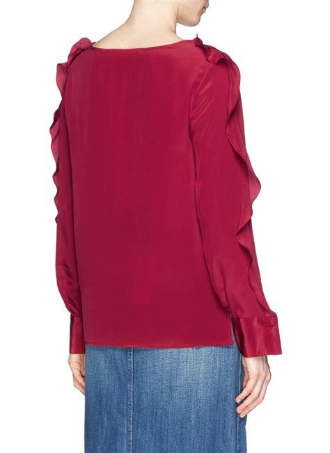 Id Pink Ruffle Silk Blouse see by ruffle silk blouse blue denim blouses