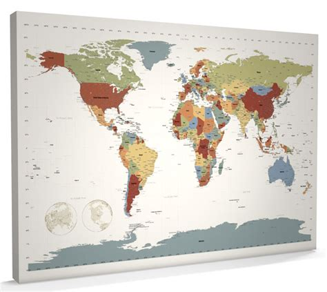map world canvas map of the world map canvas a1 34x22 inch contemporary