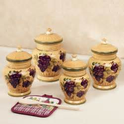 canister sets for kitchen handpainted grapes kitchen canister set
