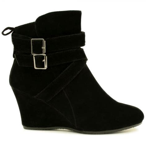 womens black suede sheepskin fur style wedge heel buckle