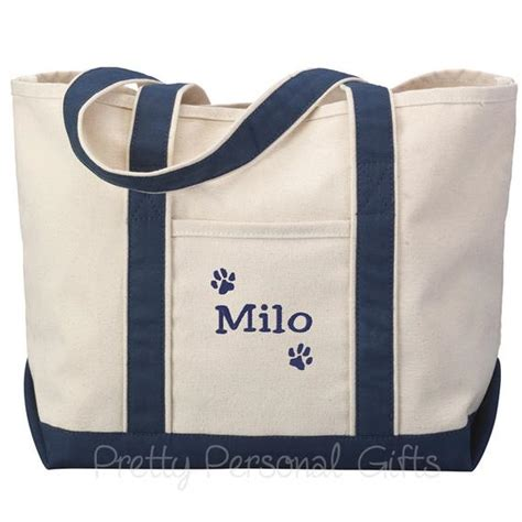 personalized dog paw print tote bag   pet owner